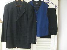 Anzug Benvenuto 48 M schwarz blau kariert Weste Hose Sakko Hochzeit Kommunion