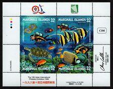 MARSHALL ISLANDS, SCOTT #614, MINI SHEET OF OCEAN & MARINE LIFE, LIMITED EDITION