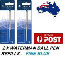 2 X WATERMAN BALLPEN BALL POINT PEN REFILL REFILLS FINE BLUE NEW  MADE IN FRANCE