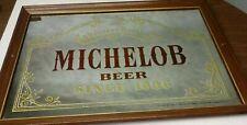 Vintage Anheuser Busch Michelob Mirror Sign 26 x 18 Wood Framed