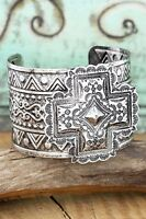 WESTERN SQUARE CROSS CUFF BRACELET ETCHED BURNISHED SILVERTONE DESIGN