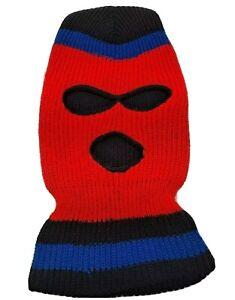 "VTG Knit Ski Mask 3 Hole Striped Red Blue Black Snow Hat Robber Unisex 14"" EUC!*"