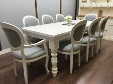 FARMHOUSE TABLE Vintage French 8 Upholstered Chairs SHABBY CHIC Large DINING Set