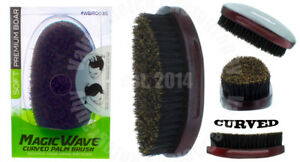 Wave Palm Brush Soft Premium Boar Bristle Hair Curved Wooden Military #WBR003S