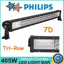 7D Tri-Row 32inch 405W LED Work Light Bar Combo Lamp ATV Truck Boat For Jeep 4WD
