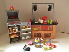 Barbie Doll I Can Be A Chef TV Kitchen Island Stove Refrigerator Huge Food Lot
