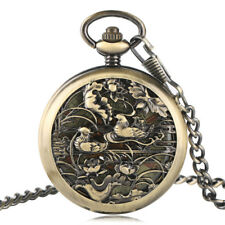 Fob Mechanical Automatic Pocket Watch Mandarin Duck Carving Chain Pendant