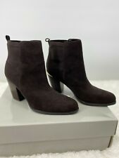 Marc Fisher Leather Stretch Ankle Brown Boots