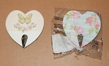 """Studio 18 Heart Shaped Picture Hooks 2pks 4""""x 4"""" Roses Butterflies Hold 5lbs 62I"""