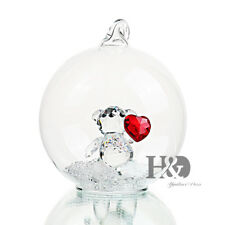 Crystal Sweet Heart Bear Paperweight Figurine Glass Covering Birthday Girl Gifts