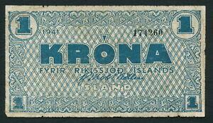Iceland 1 krona 1941 Ríkissjóđ Íslands P22a Greenish Blue on Thin White Ppr F+