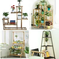 Multi-Tier Wood Flower Stand Decor Pot Shelves In/outdoor Garden Dispaly Rack