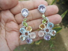 NATURAL SKY BLUE TOPAZ, AMETHYST, QUARTZ, STERLING 925 SILVER EARRINGS BIG BoLD