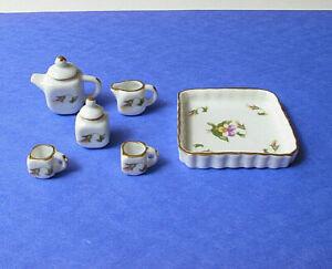IDM Dollhouse Miniature 1:12 Scale ***Tea Set*** Square White Purple Flower 8pc