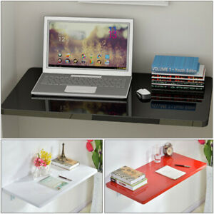 Floating Wall Mount Laptop Computer White Desk Workstation Table Home Office