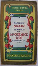 Spanish Paprika for MC. Cormick Baltimora bozza ORIG guazzo 1900 per pubblicità con loghi