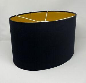 Lampshade Black Velvet Brushed Gold Oval Light Shade