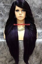 """38"""" Long Layered Black Purple Mix Lace Front Full Wig Heat Ok Hair Piece NWT"""