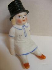 "German Antique Miniature Bisque Girl Doll Top Hat 4"" Figurine Circa 19c Antique"