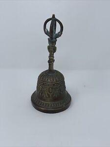 Large 9 Inches Antique Tibetan Brass Hand Made *Buddhist* Prayer Bell