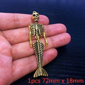10pcs 72x18mm Mermaid Skeleton Charms Antiuqe Gold Tone Pendant Bead Making