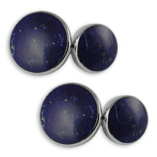 Sterling silver lapis double-sided cufflinks
