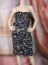 $2620 New BLUMARINE Strapless Silk Black Green Blue White Art Print Dress 46 12