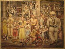 ANTIQUE WW2 ERA AMERICAN FOLK ART PAINTING MASTERPIECE DOLL CIGAR BARBER COWBOY