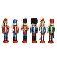 6Pcs Wooden Nutcracker Puppet Doll Soldier Toys Christmas Tree Ornaments Gifts