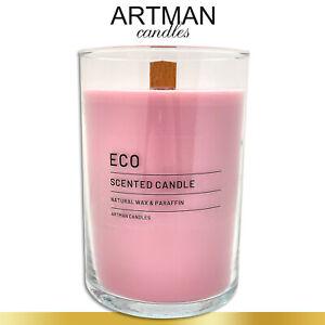 1,17 kg Duftkerze ECO im edlen Glas | Linder Dream | rosa | Flachkopfkerze