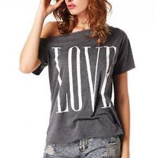 New Women LOVE Print Loose T-shirt Top Ladies Short Sleeve Shirt Casual Blouse