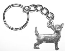 Chihuahua Dog Keychain Keyring Harris Pewter Made USA Key Chain Ring short hair