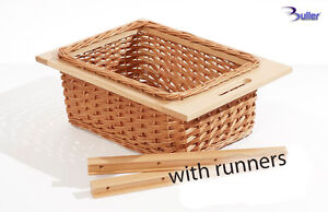 Wicker Basket Drawer Pull out With Handle For 500mm Cabinet, With Beech Runners