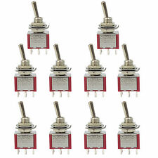 10 pcs 6 Pin DPDT ON-OFF-ON 3 Position Mini Toggle Switches MTS-203 US Stock