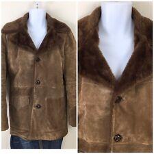 Vintage Rancher By Schott Leather Shearling Coat Marlboro Man Dark Brown 38