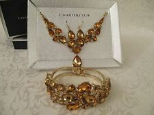 WOMENS CHARTER CLUB MATCHING NECKLACE BRACELET EARRINGS GOLD & BROWN NEW IN BOX