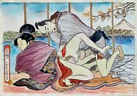 Shunga style original watercolor painting modern art handpainted nude scene