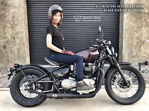 Zard Muffler Short Slip-On 2-2 Black For Triumph Bonneville Bobber