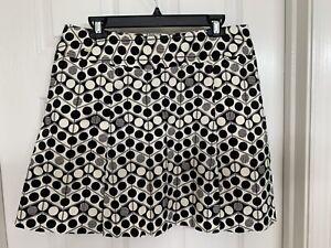 Liz Golf Womens Size 16 Skort Skirt with Pockets Black Geometric Polka Dots