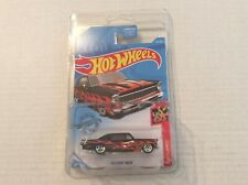 2019 Hot Wheels '66 Chevy Nova Black w/ Flames Errors Door Dented
