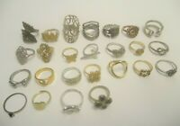 LOT OF 25 UNTESTED RINGS SILVER/GOLD TONE METAL FASHION JEWELRY FINGER TOE
