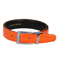Men's Orange Snake Skin Leather Belt With Stylish Silver Buckle