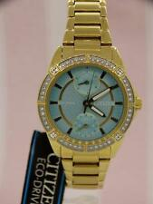 CITIZEN ECO DRIVE CRYSTAL BLUE CHRONOGRAPH WOMEN'S WATCH FD3002-51X NEW $295