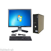 """Windows 7 Full Dell Optiplex Computer Set 4 GB Ram 80 GB HDD 17"""" LCD WIFI DVD"""
