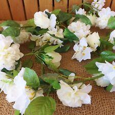 White Rose & Mini Hydrangea Silk Flower Floral Garland 2M Wedding Home Event