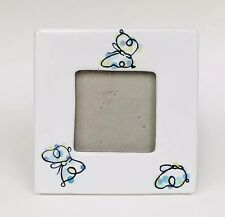 Pottery Barn Ceramic Butterfly Picture Frame Hand Painted White Blue Square 6x6
