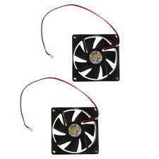2Pcs 80mm 8cm Computer Case Fan 2 Pin Cooling Cooler Silent Quiet No LED