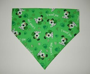 """ST. PATRICK'S DAY """"WOOF"""" DOGS  ON GREEN DOG SCARF/BANDANA--S, M, L"""