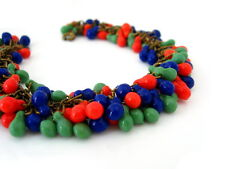 Vintage 1930s Art Deco Glass Bead Bracelet, Cha Cha Red Blue Green Brass-tone