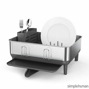 Simplehuman Dish Rack, Anti-Residue Coating with Steel Frame in Silver
